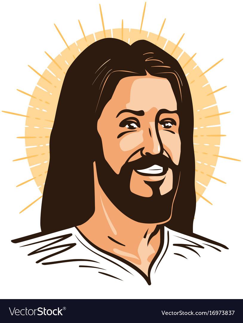 Portrait of happy jesus christ messiah god vector image