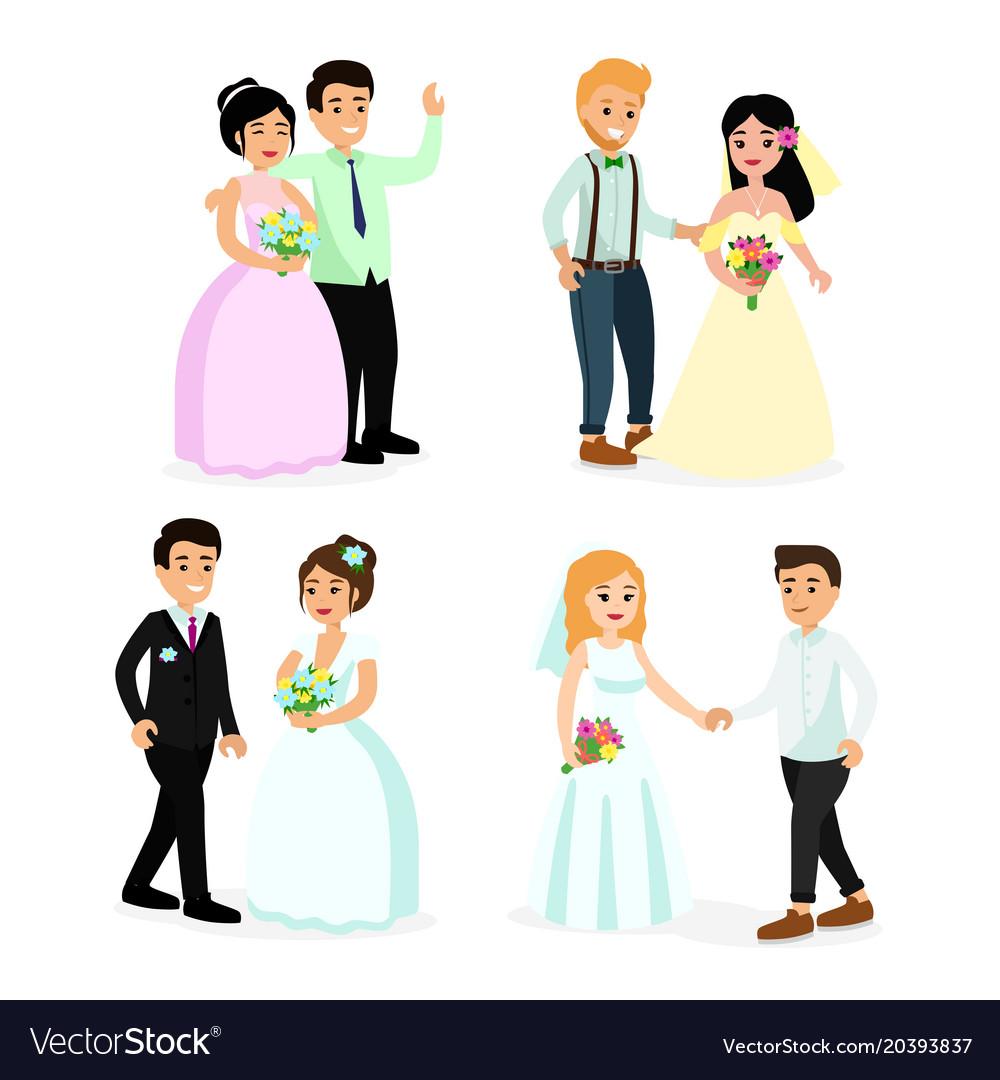 Set of happy cute wedding