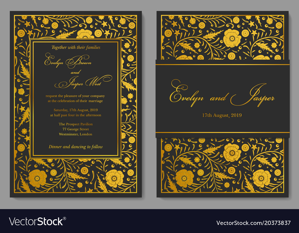 Wedding Invitation Floral Invite Card Design With