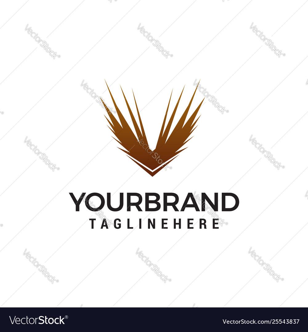 Wing bird logo design concept template