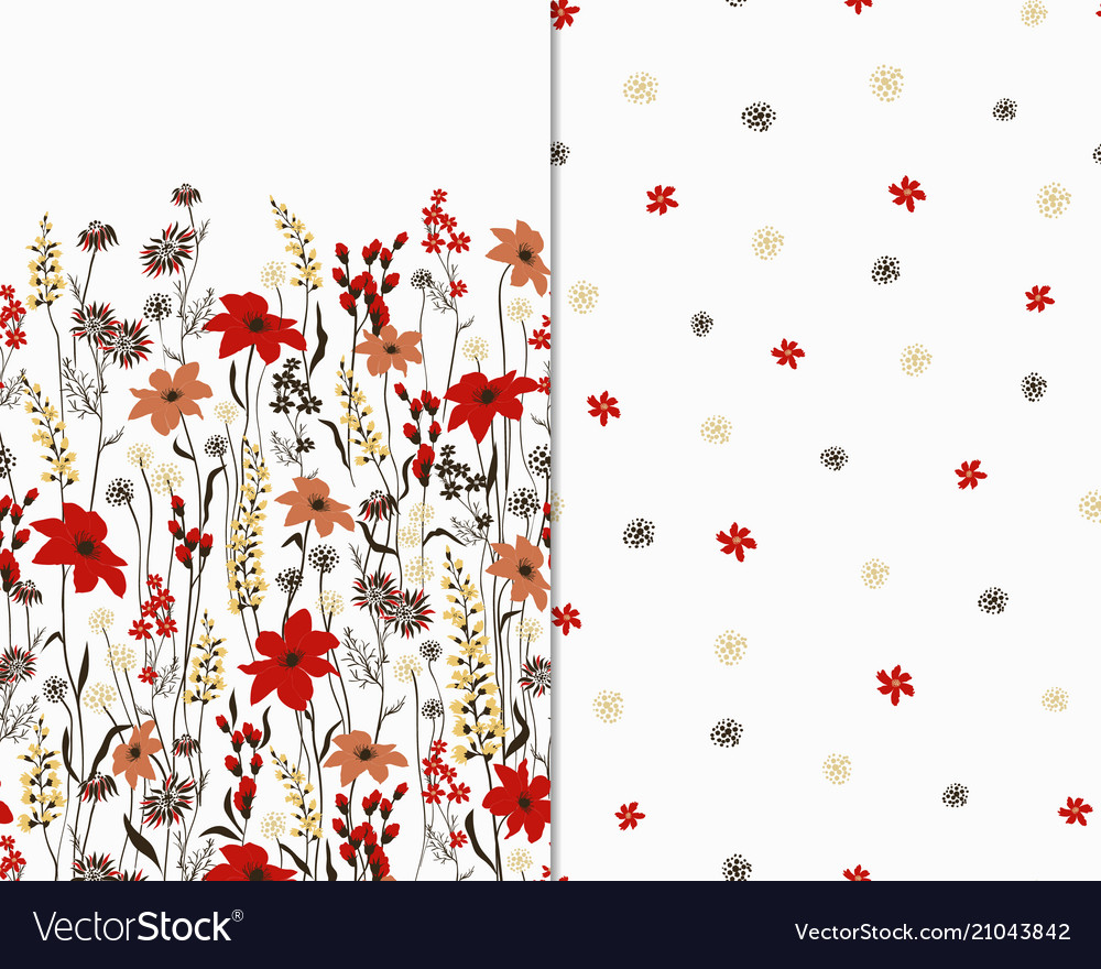 Beautiful seamless floral pattern set flower