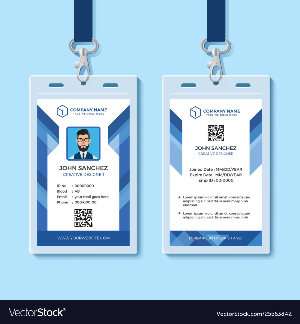 Blue Employee Id Card Design Template Royalty Free Vector