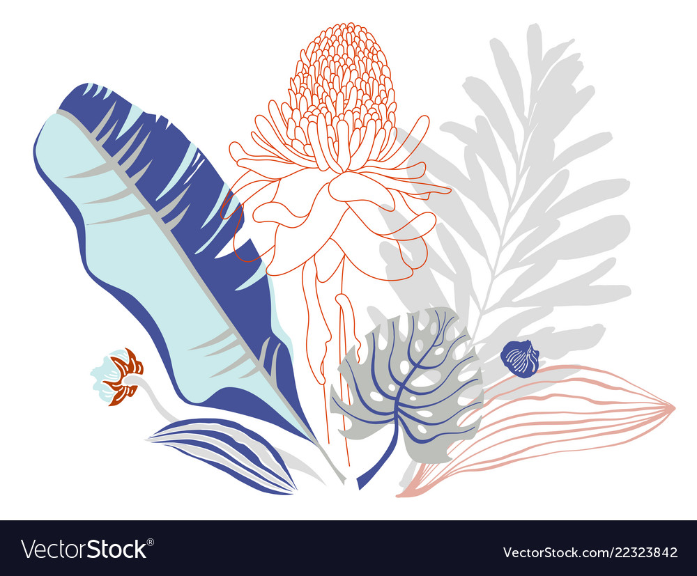Bouquet of tropical leaves and flowers on pastel