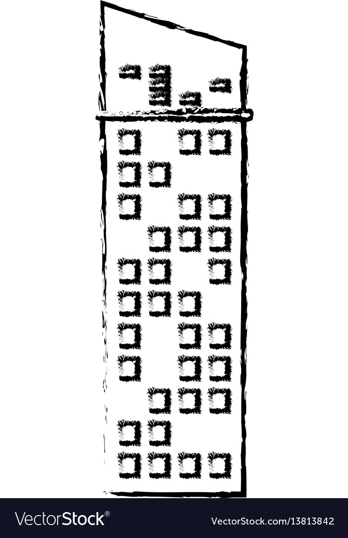 Building facade icon sketch