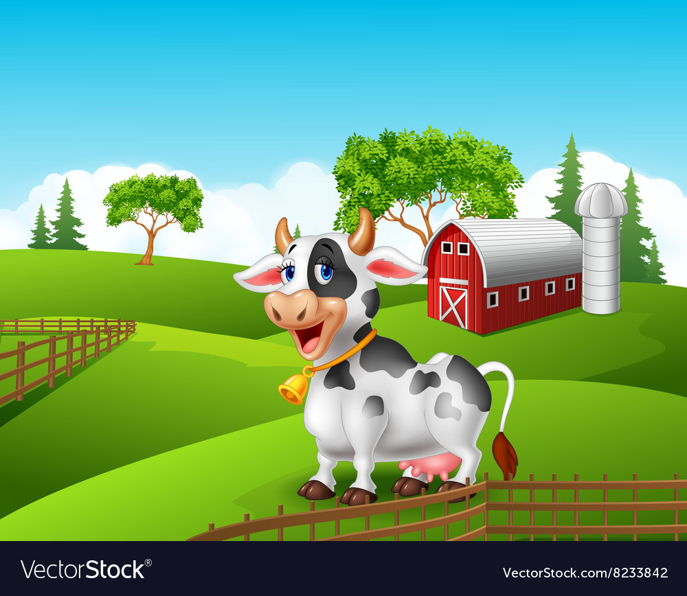 Cartoon funny cow in the farm landscape background