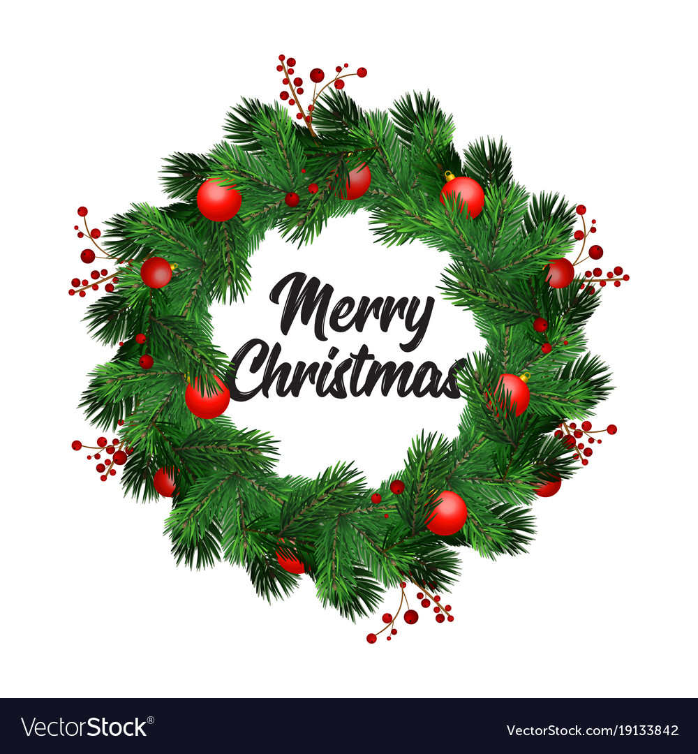 Christmas Wreath Decorations With Fir Tree Vector Image