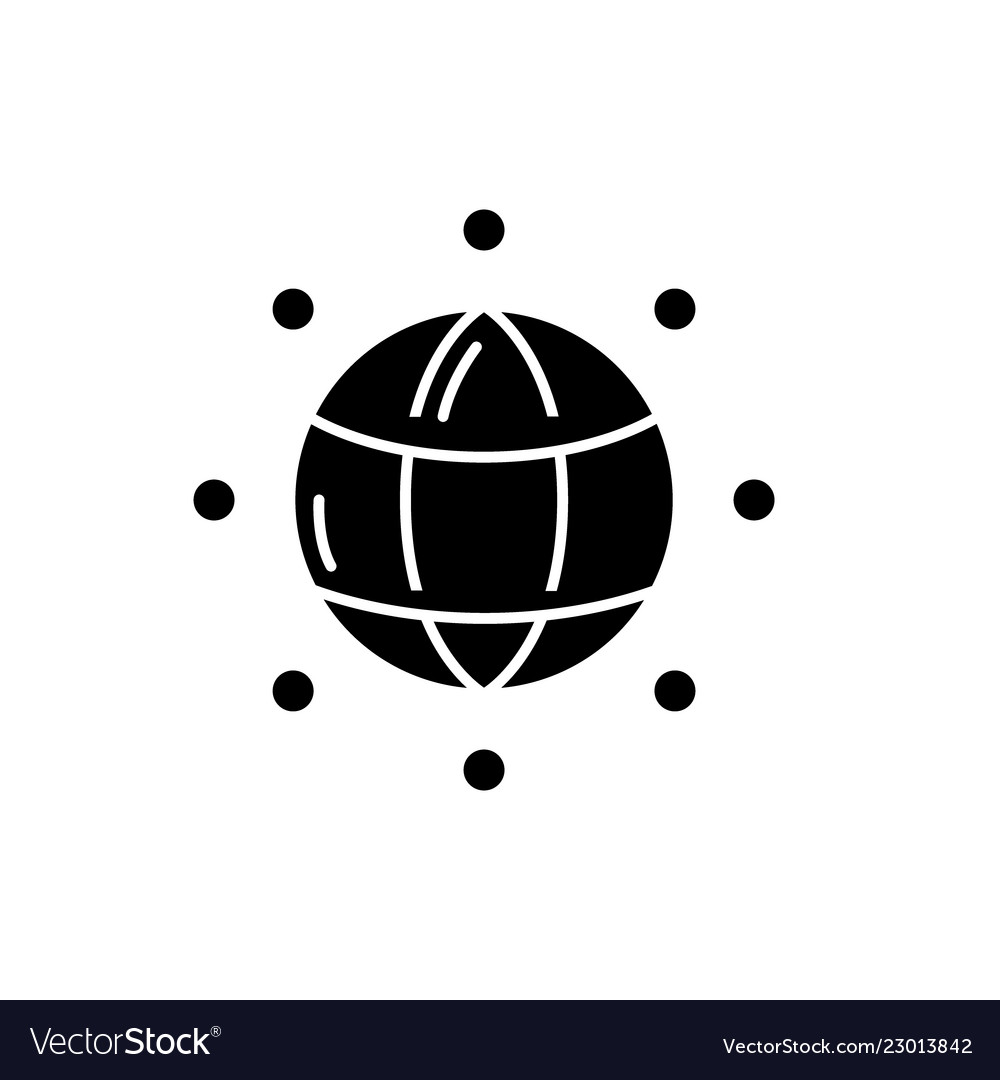 Global connections black icon sign on