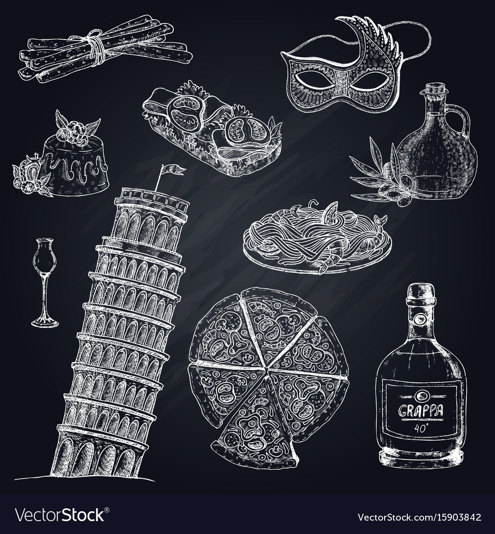 italy chalkboard elements set royalty free vector image