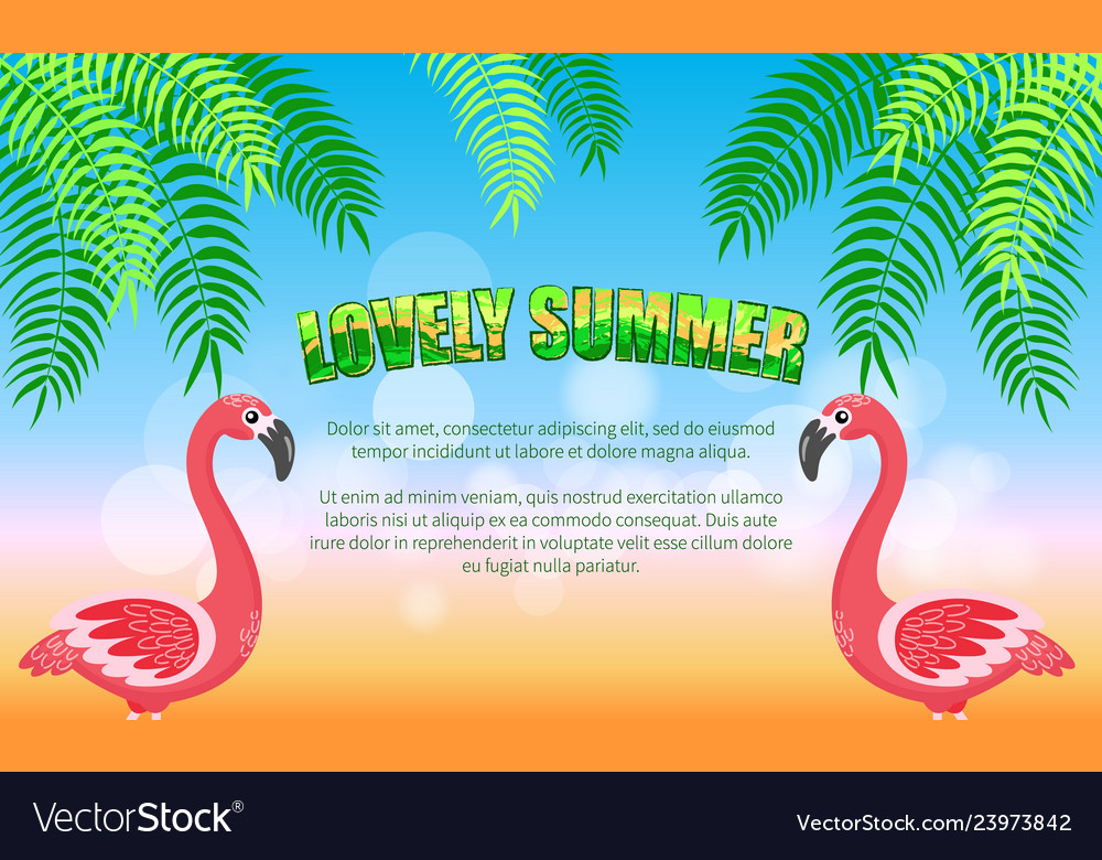 Lovely summer flamingos and palm leaves beach