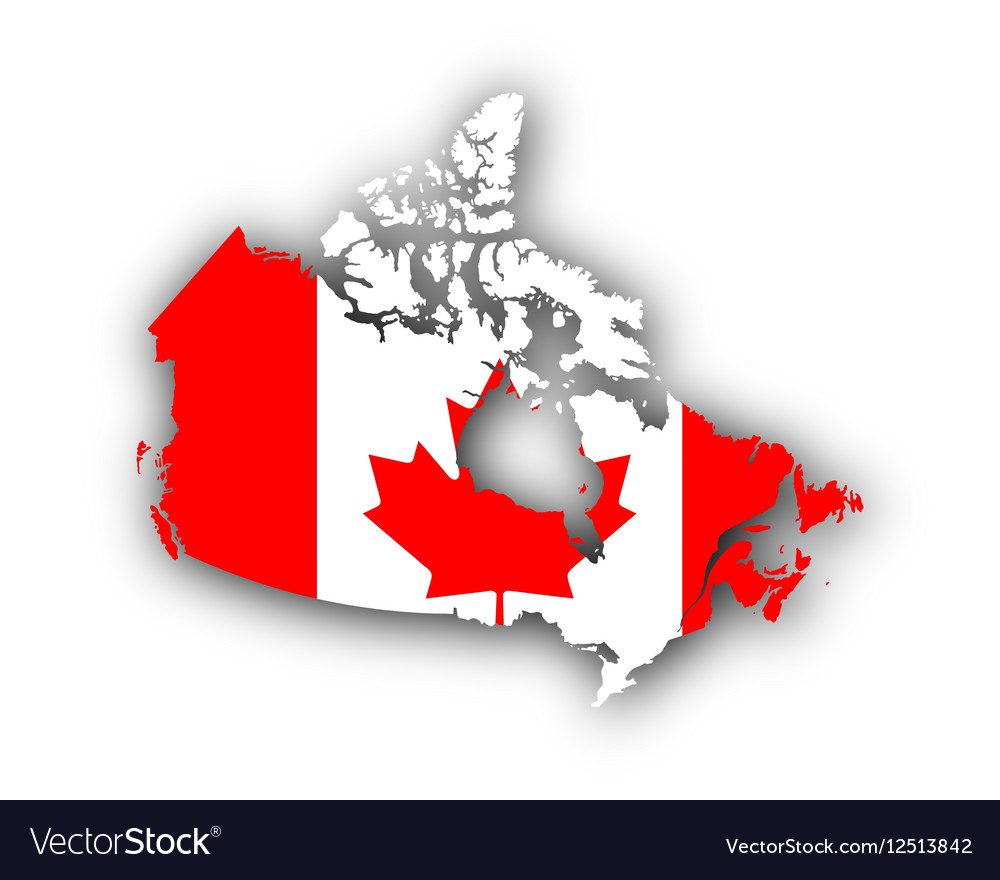 Canada Map With Flag Map and flag of Canada Royalty Free Vector Image
