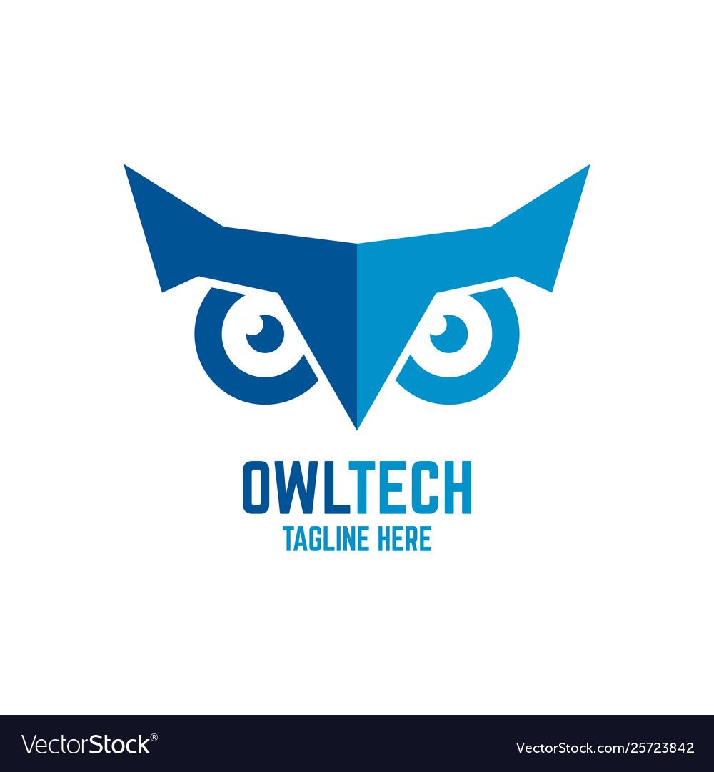 Modern owl and technology logo