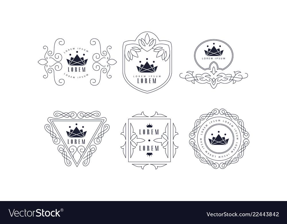 Monogram logo templates set elegant stylish
