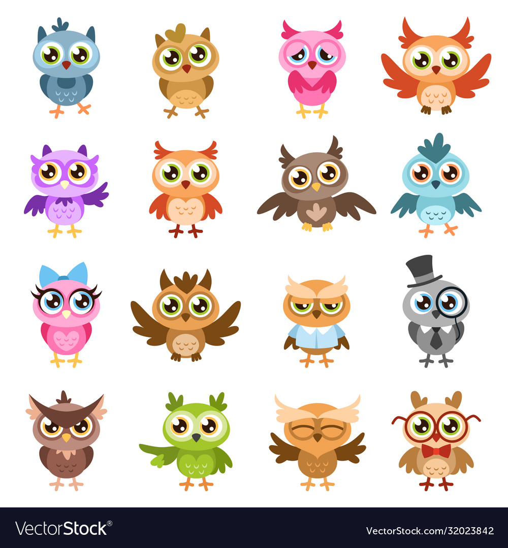 Owls color cute wise owl stickers birthday