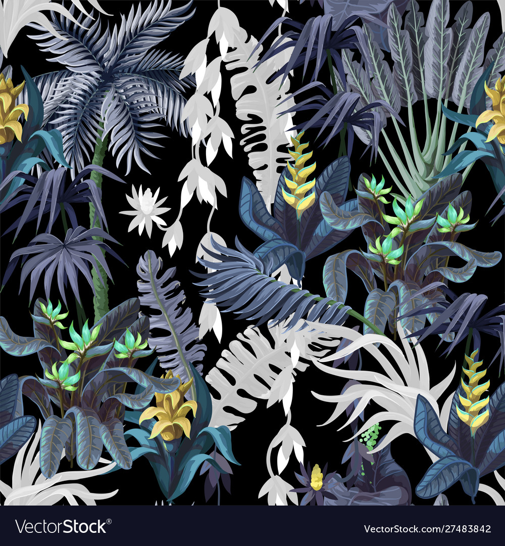 Seamless pattern with jungle trees and flowers
