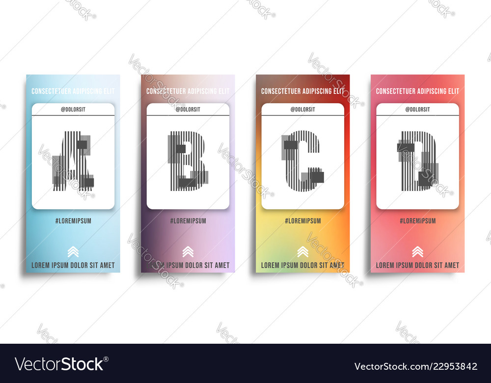 Set of smooth color gradient stories background