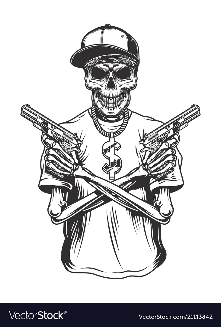 Skeleton Gangster With Guns Vector Image