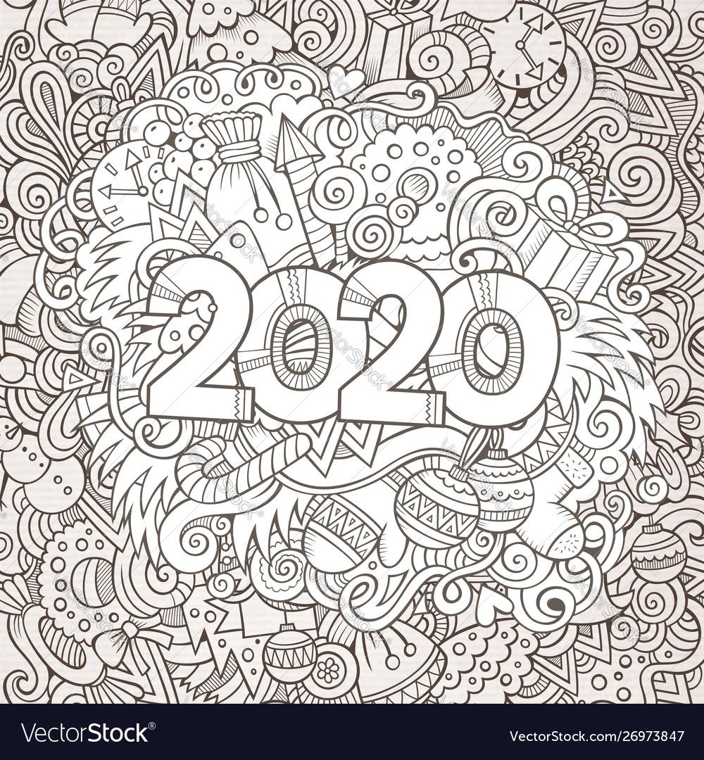 2020 hand drawn doodles contour line