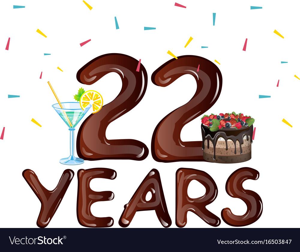 22 years anniversary celebration birthday vector image
