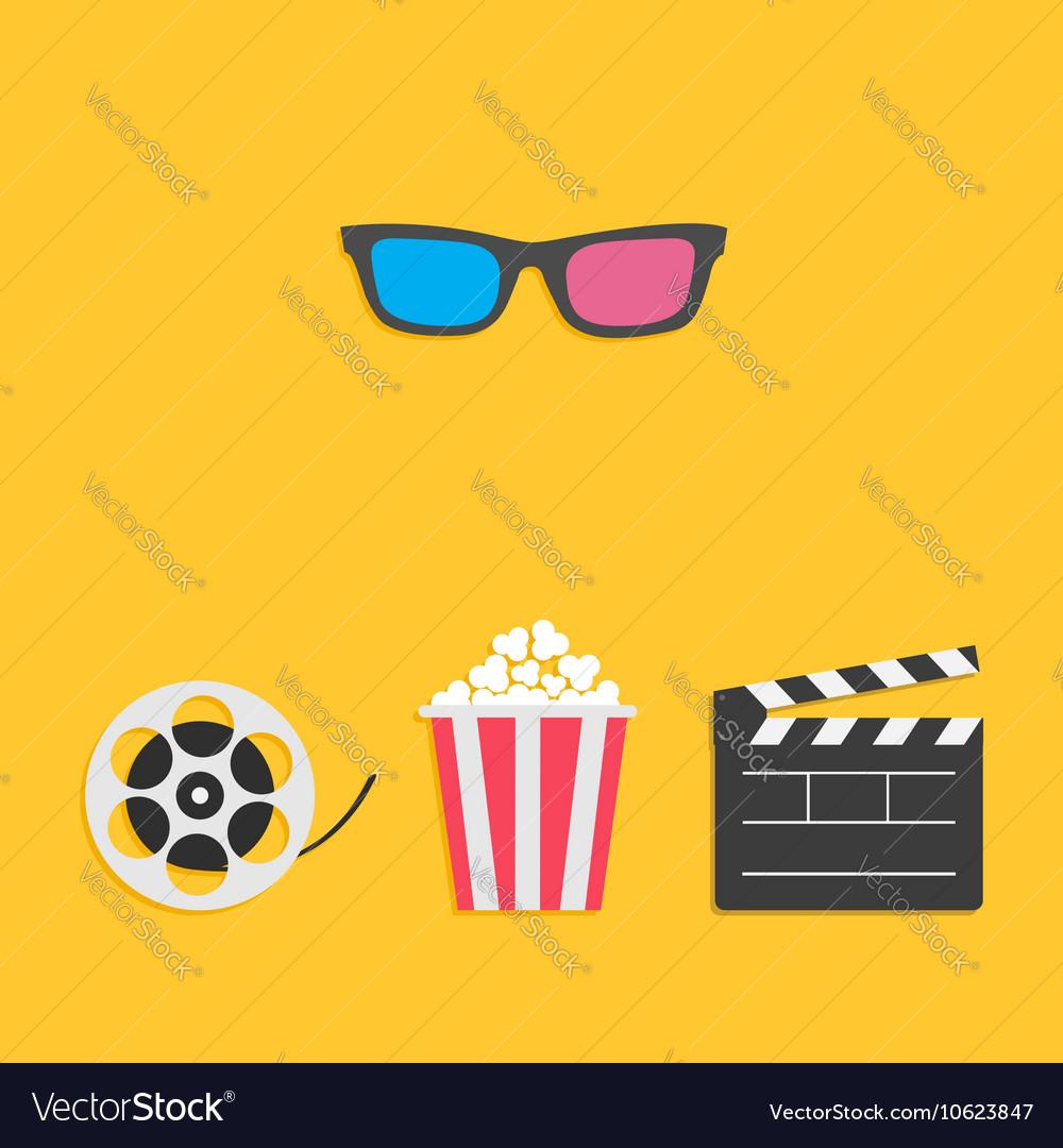3D glasses Movie reel Open clapper board Popcorn