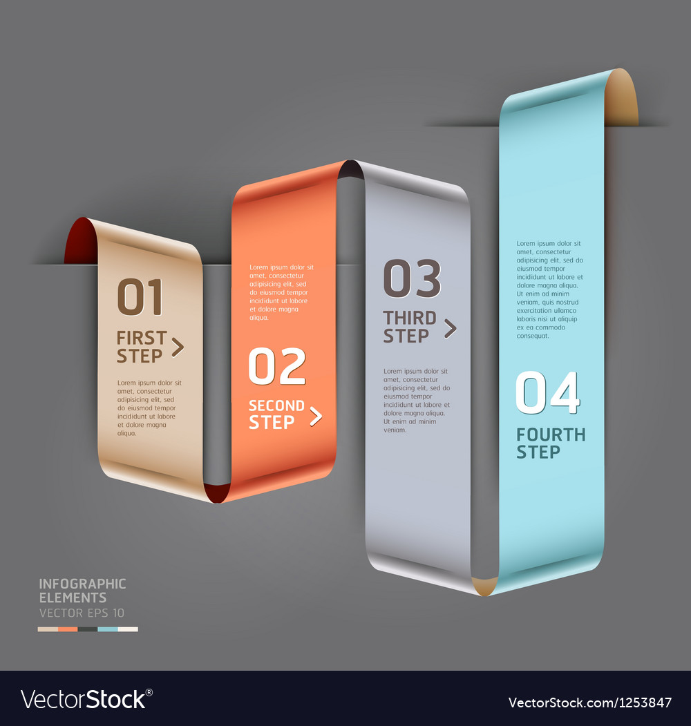 Abstract ribbon style infographics template