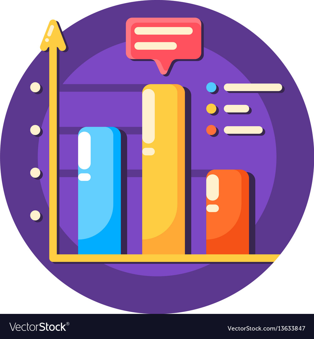 Business data graph flat icon