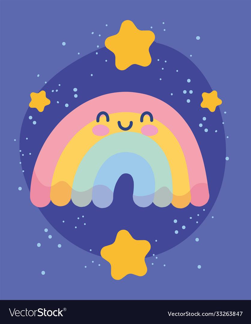 Cute rainbow cartoon decoration gold stars shiny
