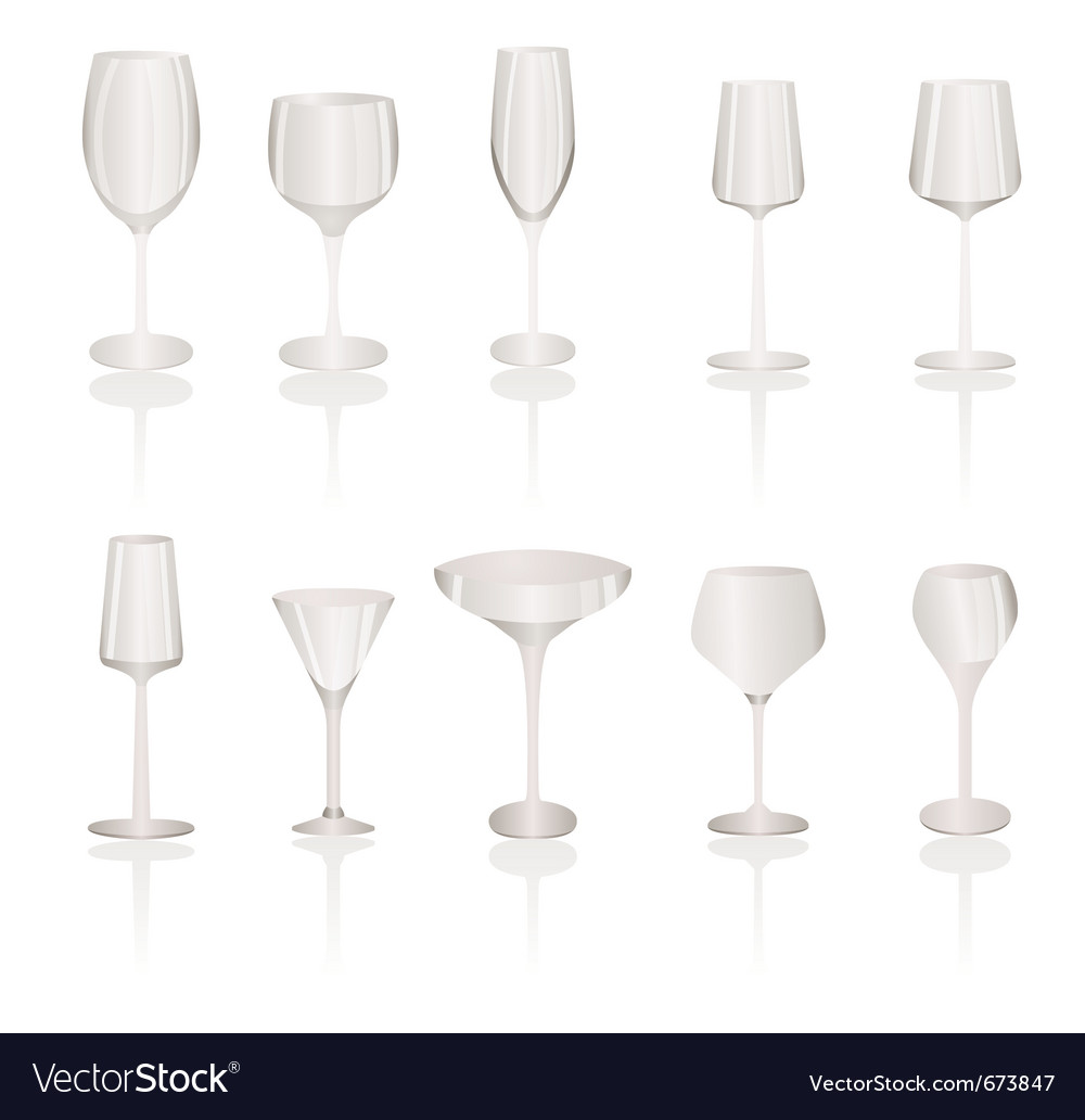 Different kind of wine glasses vector image