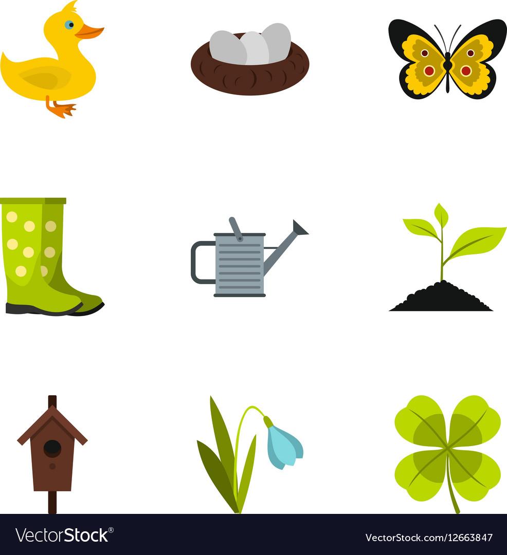 Farming icons set flat style