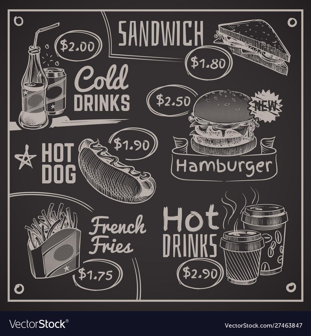 Fast food menu coffee burger and hotdog donut