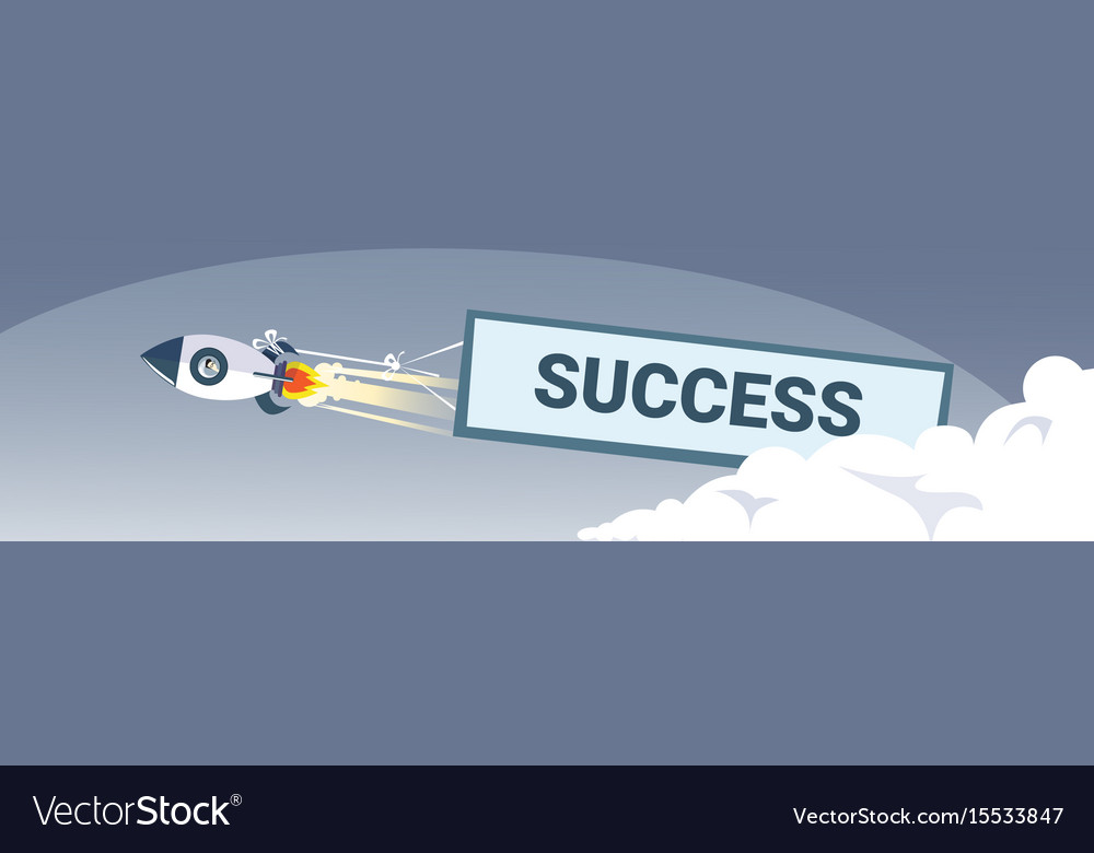 Flying space ship rocket with success banner new vector image