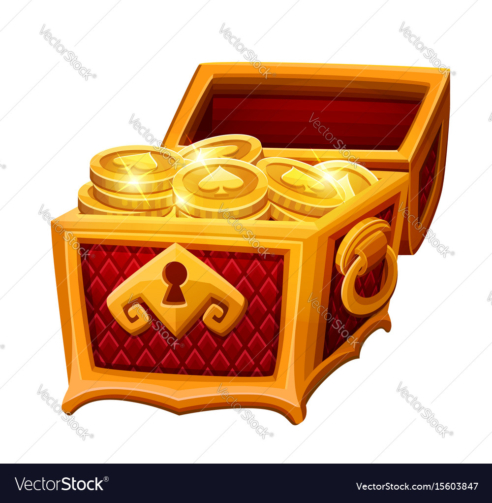 Golden chest with coins