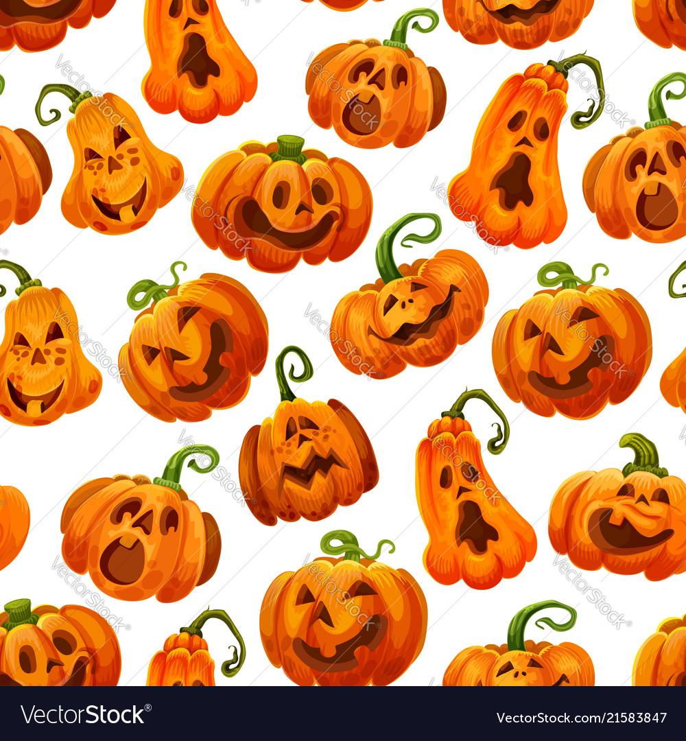 Halloween pumpkin monster lantern seamless pattern