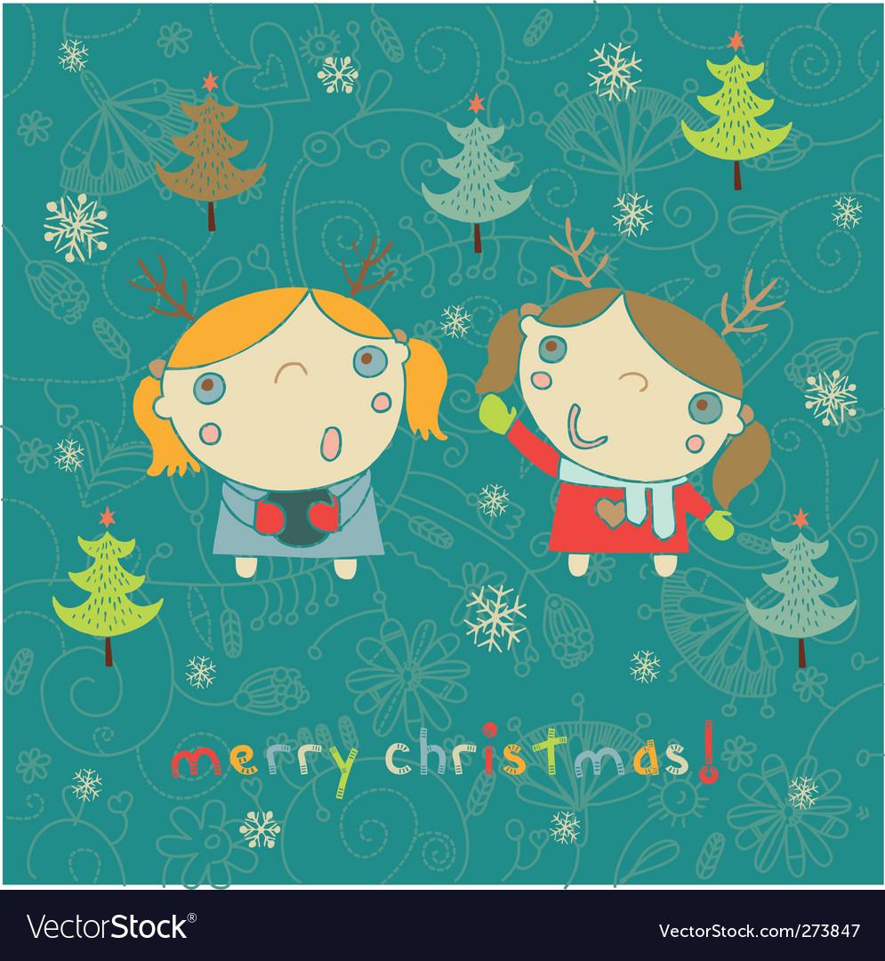Kids Christmas card vector image