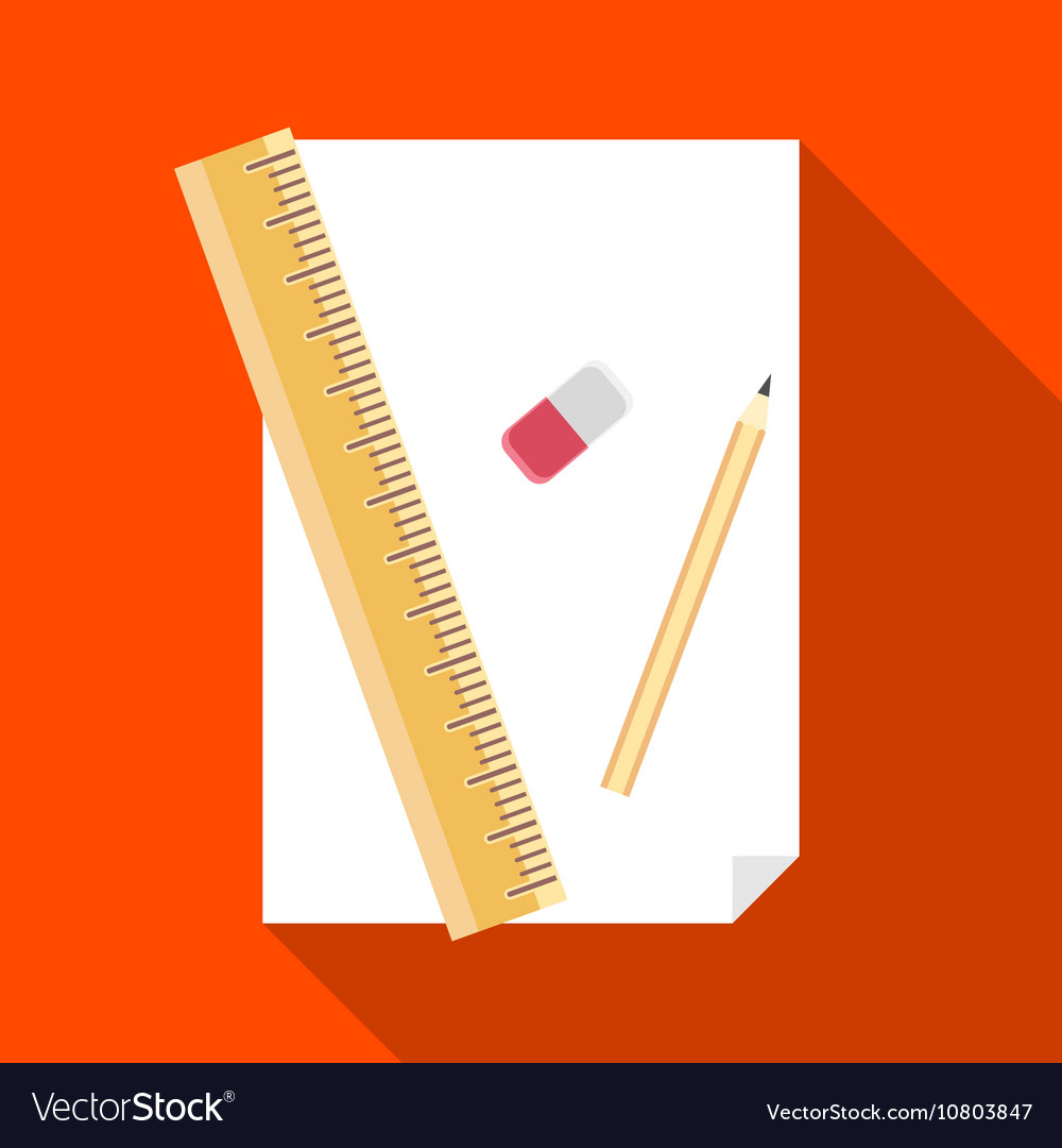 Paper pencil ruler and eraser icon