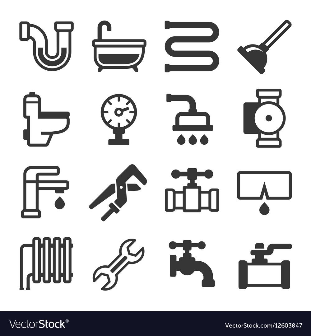 Plumbing Icons Set on White Background