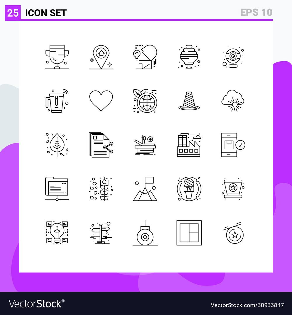 User Interface Pack 25 Basic Lines Webcam Vector Image