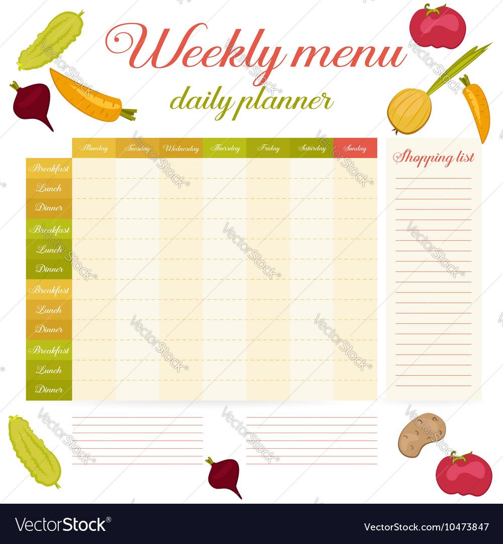weekly menu cute vintage daily planner royalty free vector