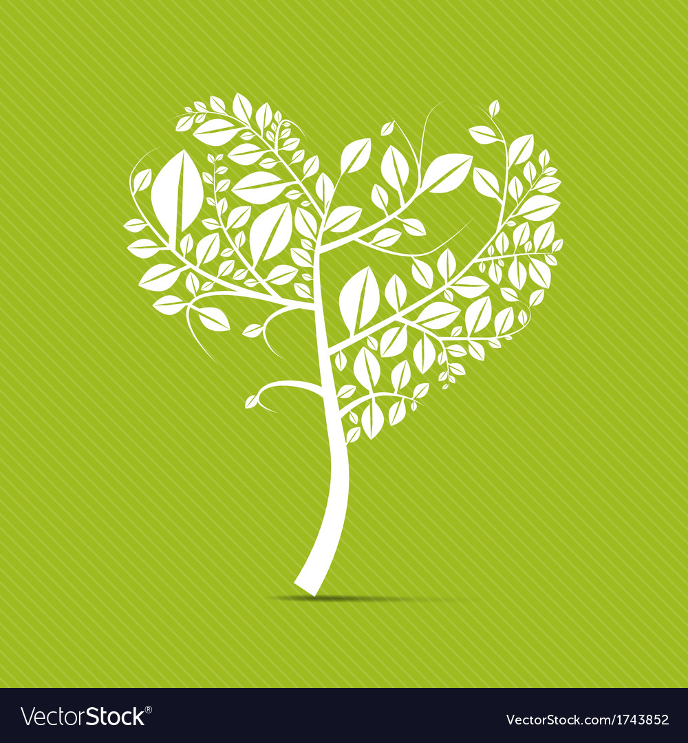 Abstract heart shaped white tree on green