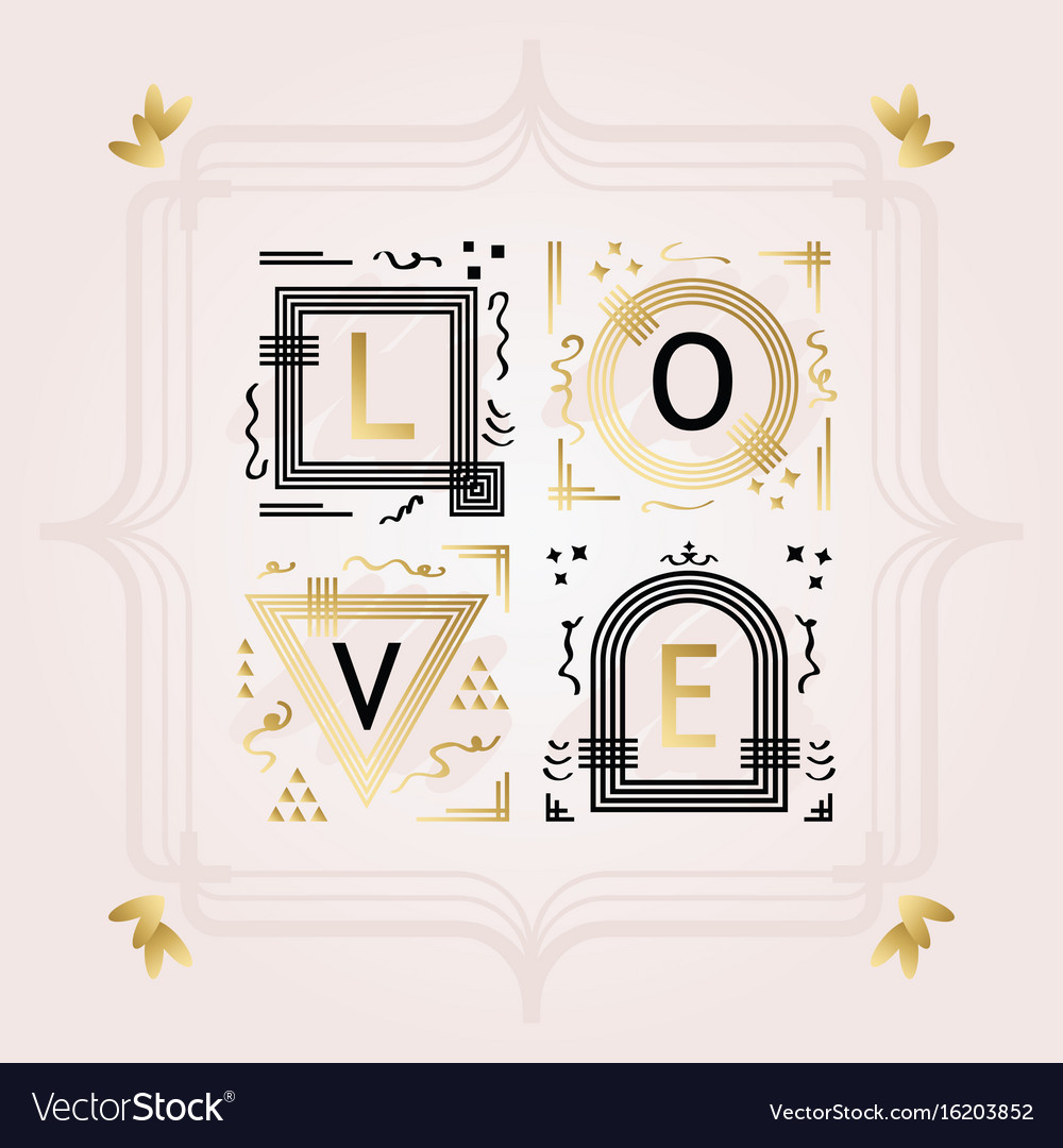 Black and golden abstract word love frame emblems