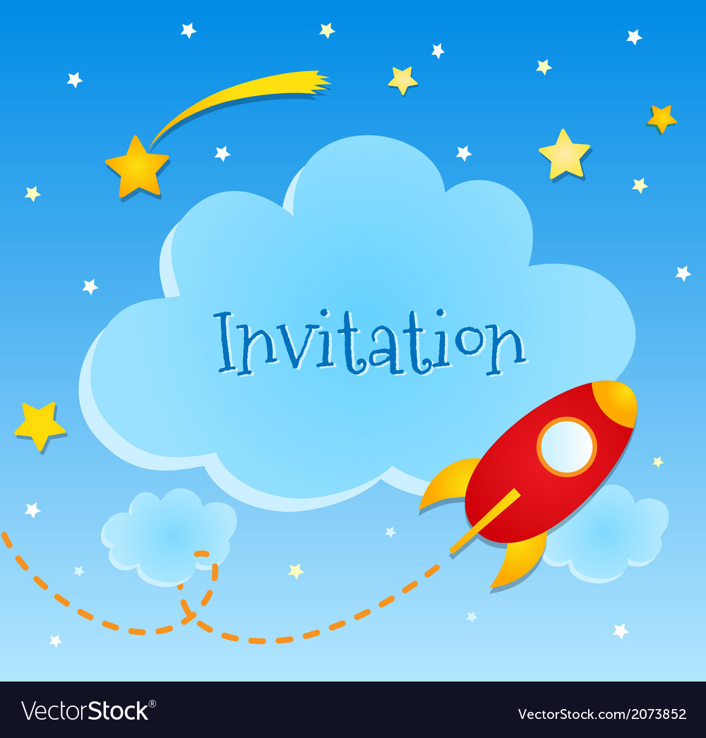 Blue invitation card with clouds and spaceship