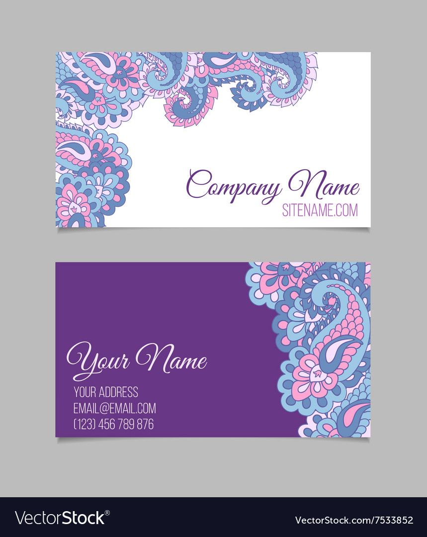 Business card template Asian paisley Royalty Free Vector
