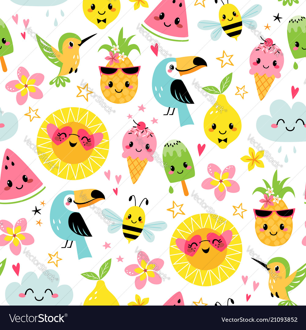Cute summer characters pattern