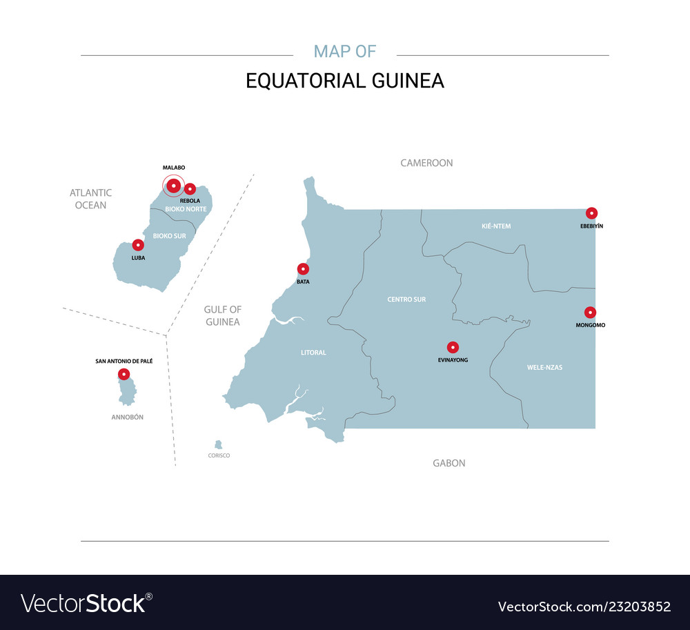 Equatorial guinea map with red pin Royalty Free Vector Image