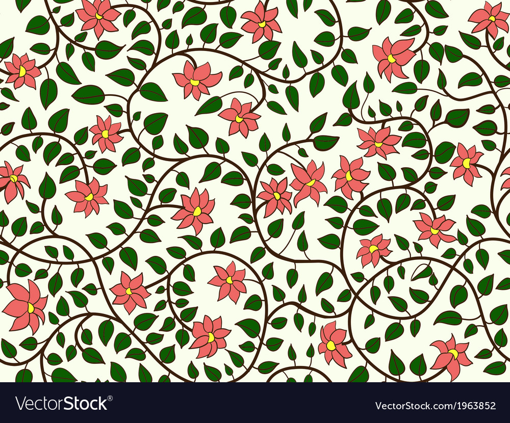 Flower twig branch and leaves vector image