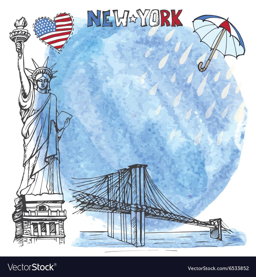 New York landmarkWatrcolor splashreinumbrella