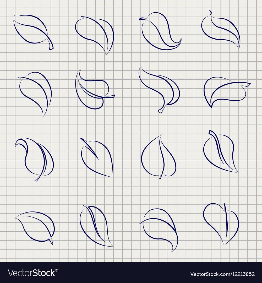 Outline sketch leaves set