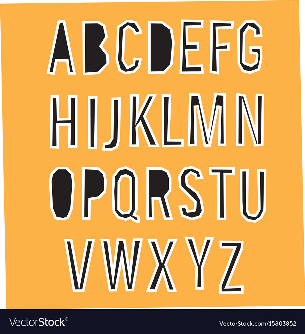 Paper cut alphabet black letters with white