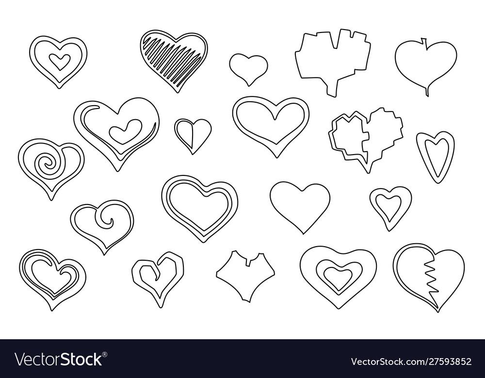 Stylized line art hearts set