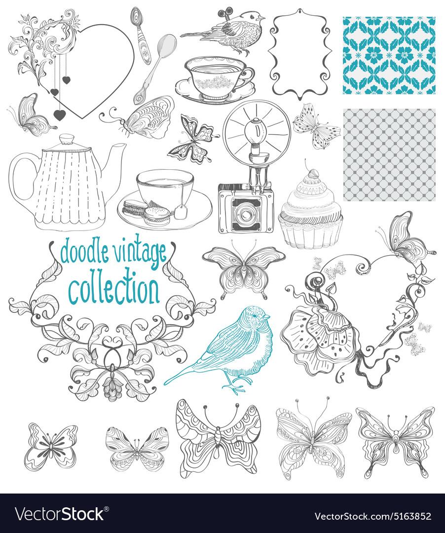 Vintage doodle elements - pattern flower butterfly vector image