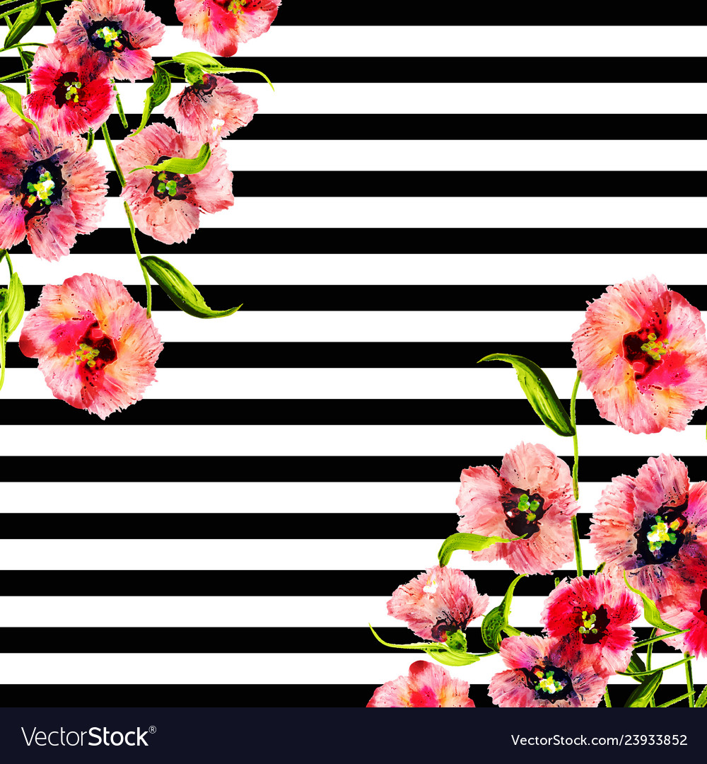 Watercolor Spring Floral Background With Stripes Vector Image